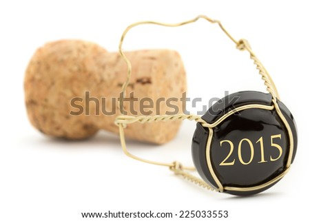 close up of champagne cork isolated on white background - stock photo