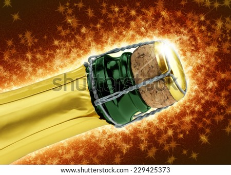 close up of champagne cork on sparkling red background - stock photo