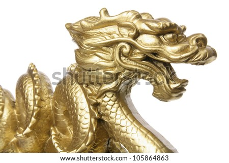 Close Up of Chinese Dragon Figurine - stock photo