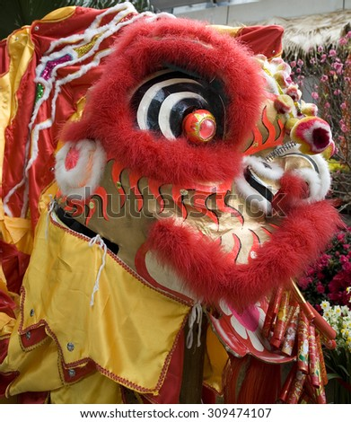 Close-up of chinese dragon head used for celebrating Chinese New Year - stock photo