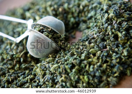 Close up of Chinese Green tea leaves - stock photo