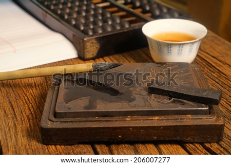 Close up of Chinese old shop, focus on the calligraphy.  Warm tone color. still light - stock photo