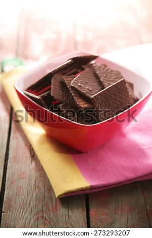 Close-up of chocolate cookies in bowl - stock photo