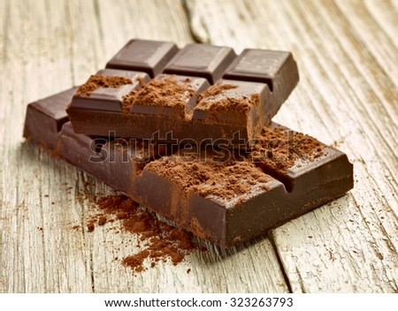 close up of chocolate pieces on  wooden background - stock photo