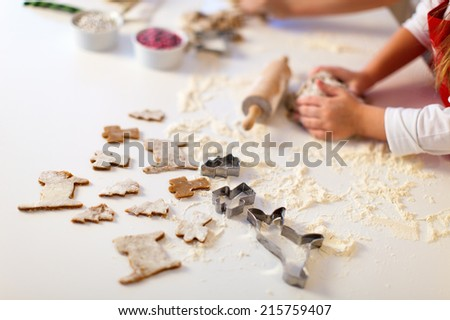 Close up of Christmas cookies baking - stock photo