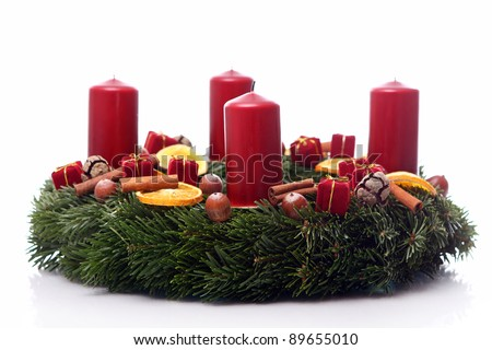 Close up of Christmas wreath - stock photo