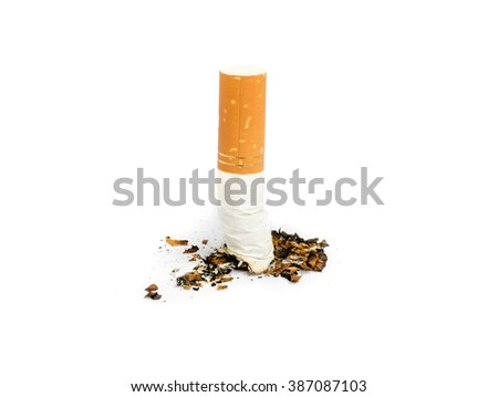 Close up of Cigarette isolated on white background. - stock photo