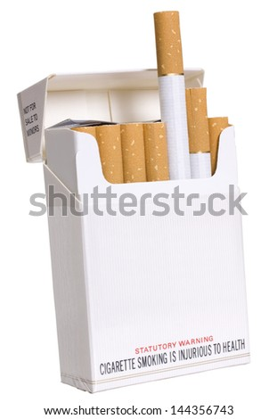 Close-up of cigarettes in a packet - stock photo