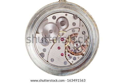 close up of clockwork of watch, isolated - stock photo