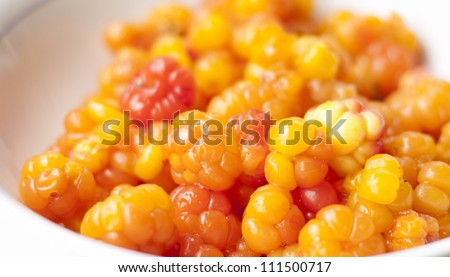 Close up of cloudberry berries, a rhizomatous herb native to alpine and arctic tundra and boreal forest - stock photo