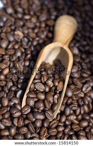 Close up of coffee beans spilling out of wooden scoop - stock photo