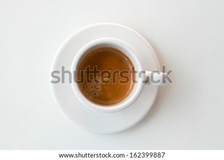 close up of coffee cup on white background. - stock photo