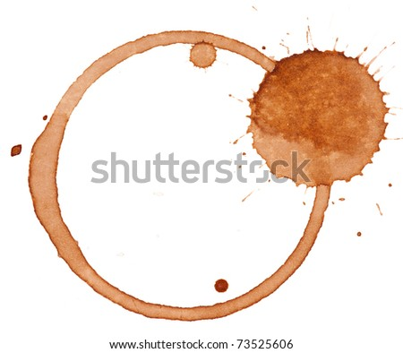 Close up of coffee cup stains isolated on white background - stock photo
