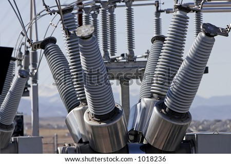 Close-up of coils and equipment at an Electric  Power Plant. - stock photo