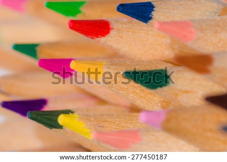 Close up of colored pencils/Colored Drawing Pencils/Colored drawing pencils in a variety of colors - stock photo