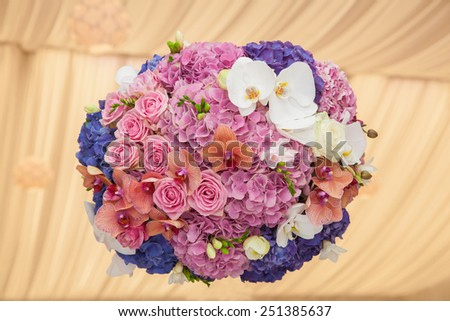 close up of colorful and fresh wedding flowers - stock photo