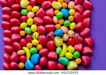 Close-up of colorful bright candies background.From above - stock photo