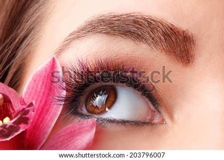 Close up of colorful eyelash extensions - stock photo
