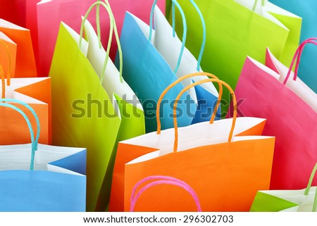 close up of colorful paper shopping bags - stock photo