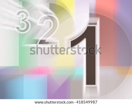 Close-up of colorful tv screen with numbers 1,2,3, 3d rednering - stock photo