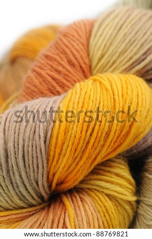 Close-up of colorful wool yarn - stock photo