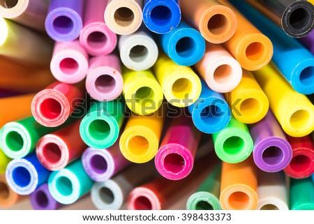 Close-up of colour pens - soft focus. - stock photo