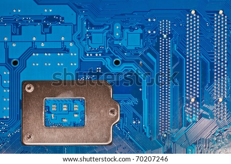 Close up of computer circuit board - stock photo