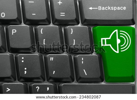 Close-up of Computer keyboard,  with Play key - stock photo