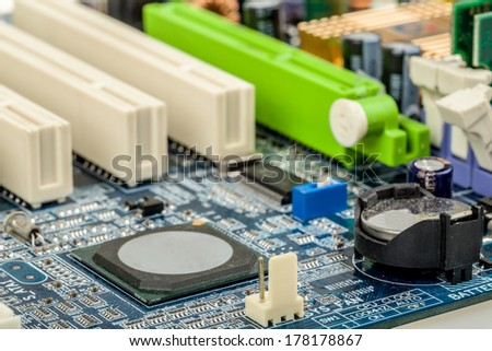 close up of computer motherboard with shallow focus - stock photo
