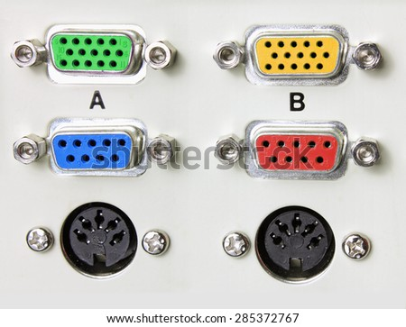 Close up of Computer Ports - stock photo