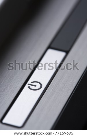 Close up of computer power switch. - stock photo
