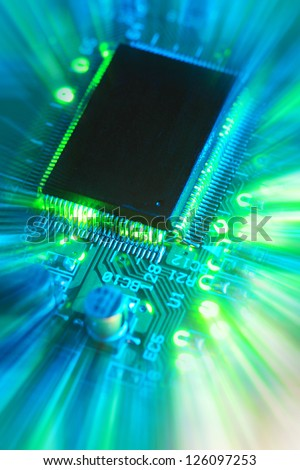 close-up of computer printed circuit board - stock photo