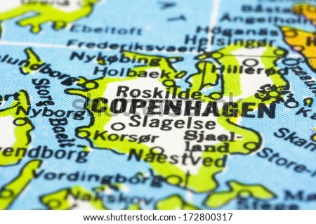 Close up of Copenhagen on map, capital city of denmark. - stock photo