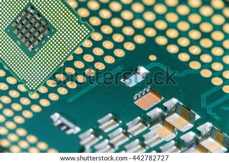 Close up of CPU microchip on macro cpu surface background ; brians of computer with copy space  - stock photo