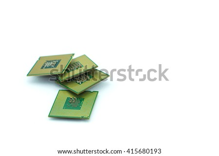 Close up of CPU microchip stack on isolated white background ; Computer processors - brians of computer - stock photo