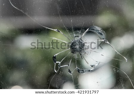 Close up of crack glass - stock photo