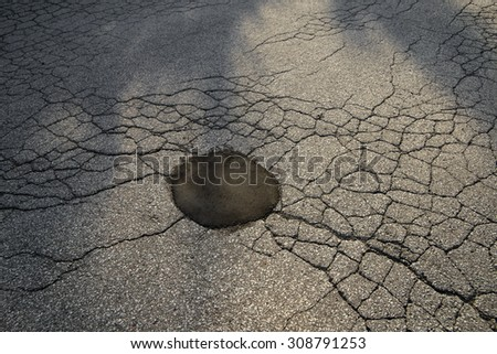 Close up of  cracked asphalt road - stock photo