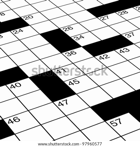 Close up of crossword puzzle as detail ready for solving - stock photo