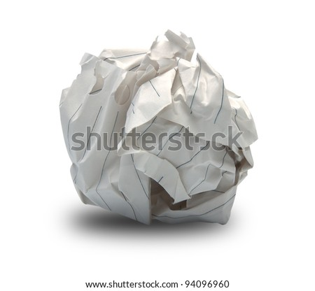 close-up of crumpled paper ball - stock photo