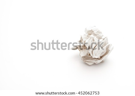 close-up of crumpled paper ball, Wadded paper - stock photo