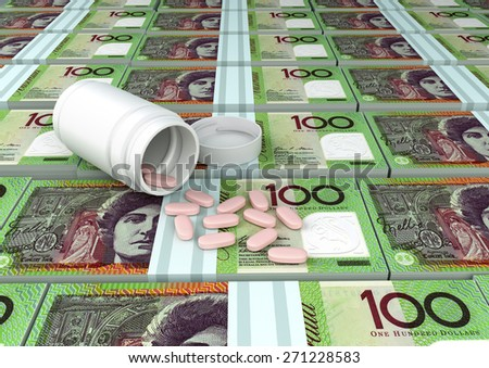 close up of 3D medicine, tablets pills on top of Australian money  - stock photo