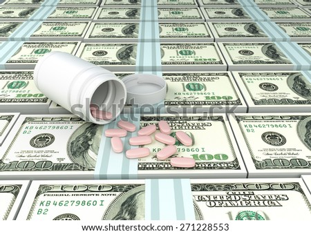 close up of 3D medicine, tablets pills on top of United states of America money  - stock photo