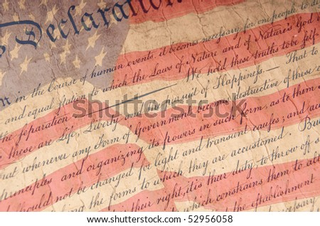 Close up of Declaration of Independence - stock photo