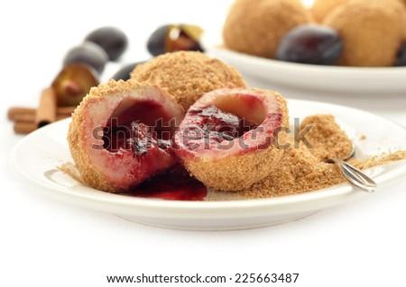 Close up of delicious sweet plum dumplings - stock photo