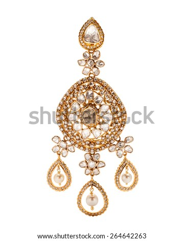 Close up of diamond earring with many stones and diamonds on white background - stock photo