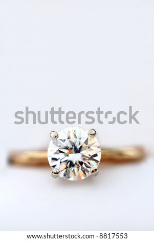Close up of Diamond Ring with Copy Space - stock photo