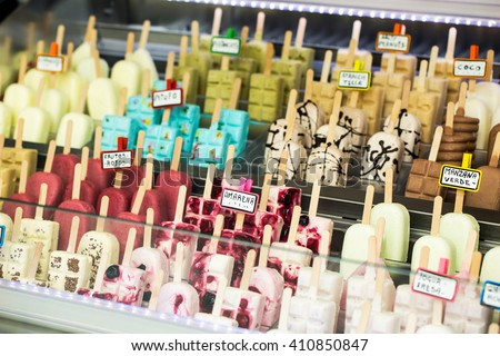 Close-up of different ice cream with sticks - stock photo
