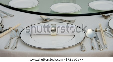 Close-up of dining table place setting, Changping District, Beijing, China - stock photo