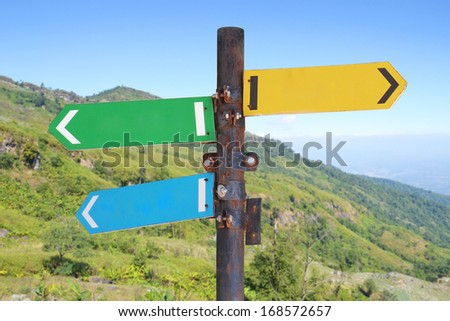 close up of directional signs - stock photo