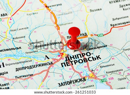 Close up of  Dnepropetrovsk  ,Ukraine , map with red pin - stock photo